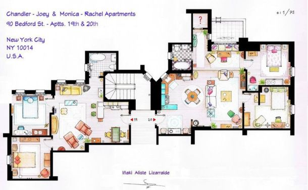 Rachel & Monica and Chandler & Joey  (Friends) apartament floor plan.