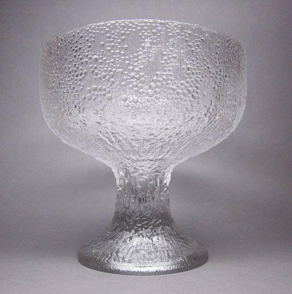 Iittala Finland PURO Cast Glass Bowl / Centrepiece, TAPIO WIRKKALA, 1977 Hopla