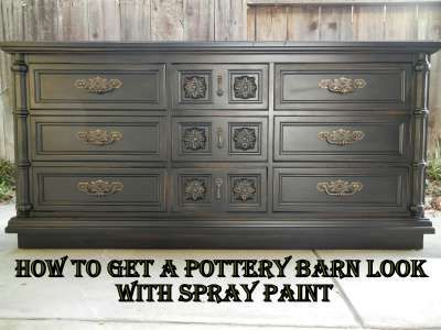 One Busy Lady and Six Great Kids: Pottery Barn Black - The Dresser Painting Experiment