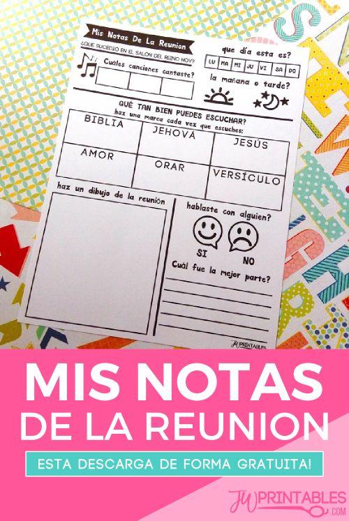 Mis Notas De La Reunion (Testigos de Jehova) | JW Printables