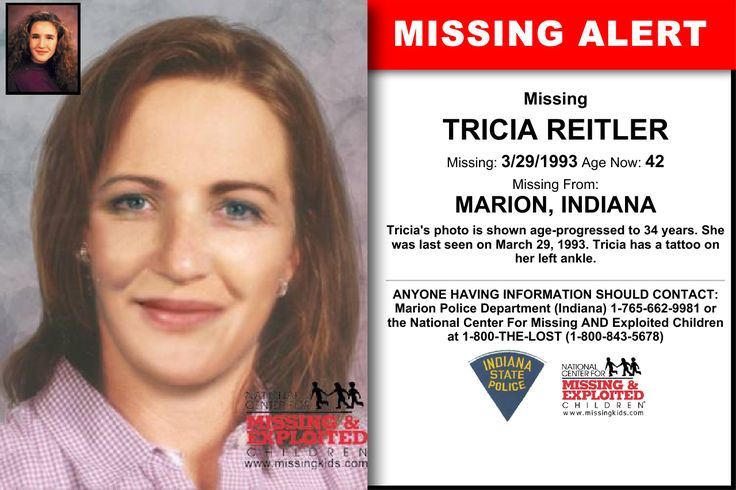 TRICIA REITLER, Age Now: 42, Missing: 03/29/1993. Missing From MARION, IN. ANYONE HAVING INFORMATION SHOULD CONTACT: Marion Police Department (Indiana) 1-765-662-9981.