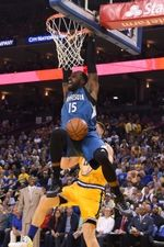 Minnesota Timberwolves forward Shabazz Muhammad (15) dunks the basketball against the Golden State Warriors during the second quarter at Oracle Arena.  #9232984