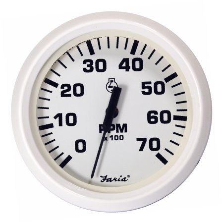 Faria Dress White 4 inch Gauge -7000RPM Tachometer, All