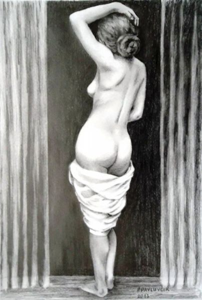Peter Pavluvcik - naked female figure, drawing, pencil 1.