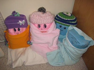 Flour Sack Babies - I put my cabbage patch doll head on mine.  LOL!