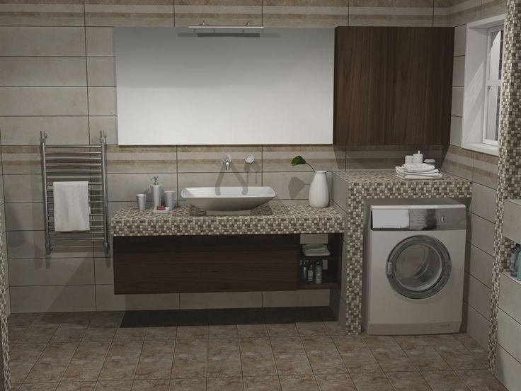 Κρεμαστό ερμάριο μπάνιου κάτω από τον κτιστό πάγκο με συνολικό μήκος 150 cm. Το άνω τμήμα αποτελείται από καθρέπτη με διάσταση 150 x 80 cm και ένα ερμάριο τοίχου με μέγεθος 70 x 80 cm.