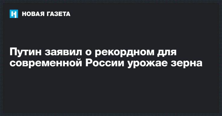 Путин заявил о рекордном для современной России урожае зерна - Новая газета