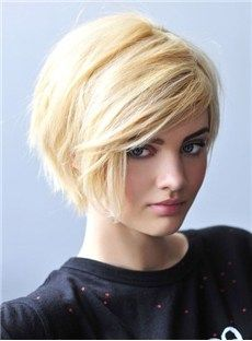#New Fashion Unisex Short Layered Straight Bob Lace Wig 100% Indian Human Hair about 8 Inches