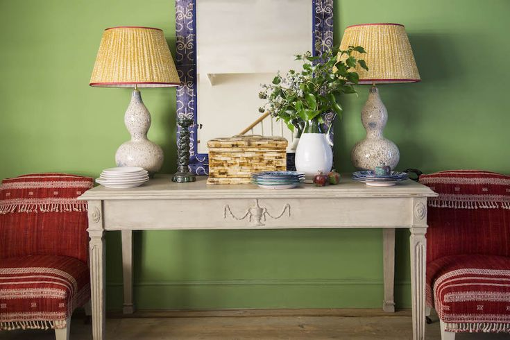 Hallway in Edward Bulmer Natural Paint Invisible Green. The most vibrant of colours. #green #hallinspiration #sittingroom #naturalpaint #lamps