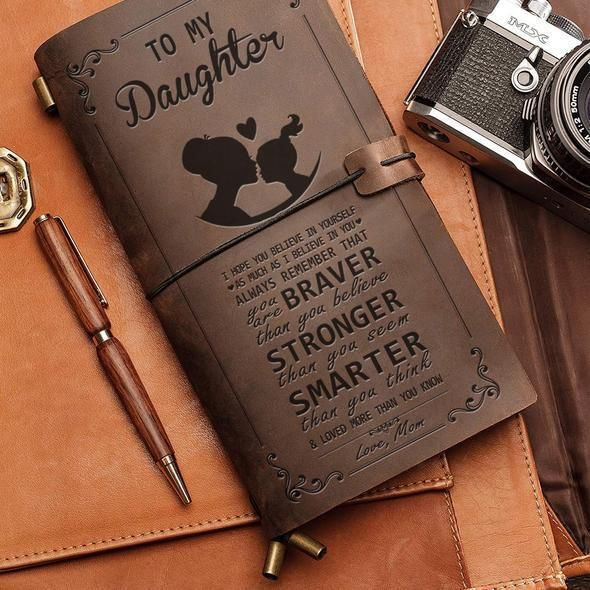 To My Daughter From Mom Mother Engraved Leather Journal Notebook Diary Xmas Gift