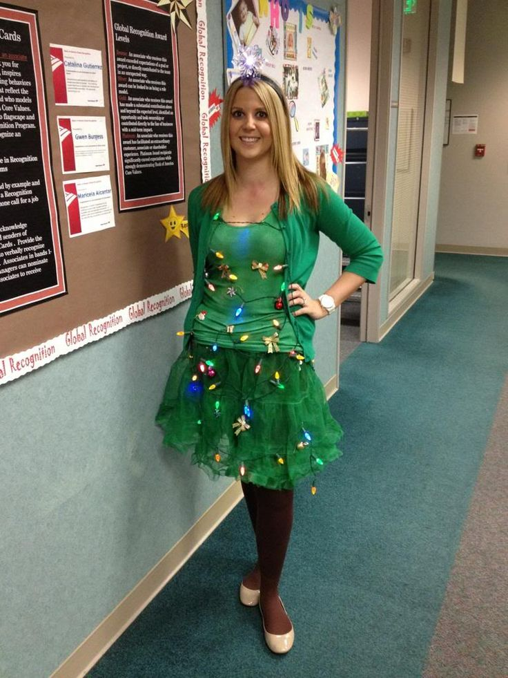Diy christmas tree costume and the new baby can be a present