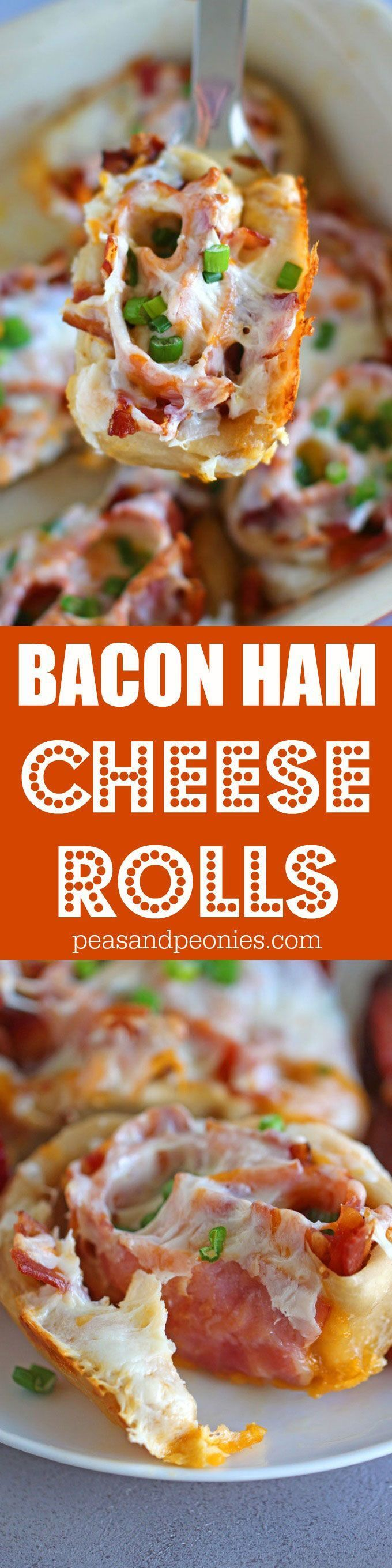 Bacon Ham Cheese Rolls are so easy to make using pizza dough or crescent dough, stuffed with bacon, ham and cheddar cheese these are perfect for brunch. SmithfieldBrunch #ad