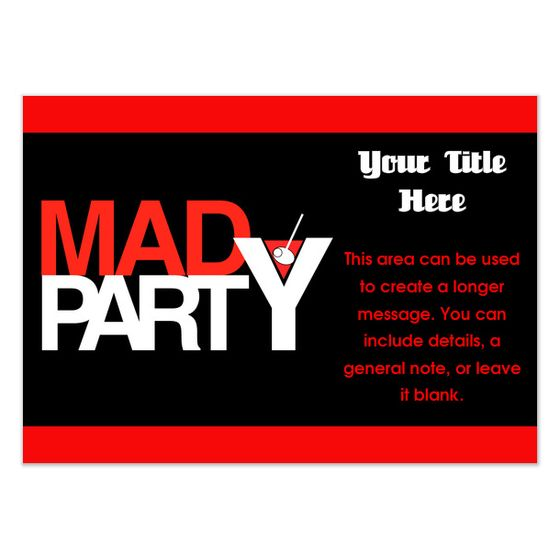 22 best Party Theme Mad Men images – House Party Invitation Templates