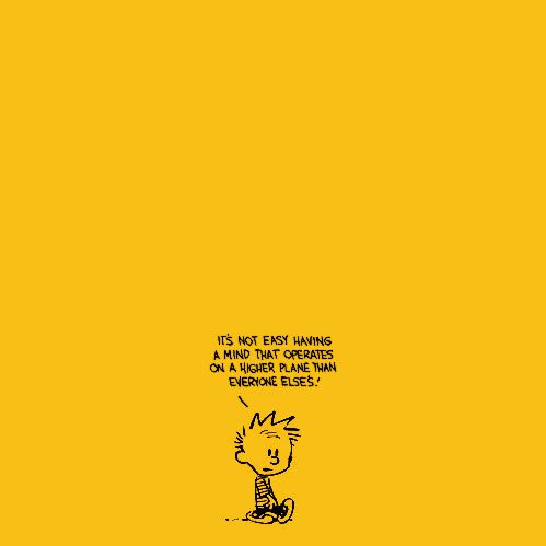 "quote: ""it's not easy having a mind that operates  on a higher plane than everyone else's""  ~calvin + hobbes"