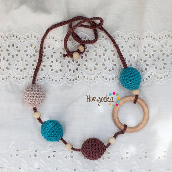 Turquise-brown ecojewelry babywearing necklace by Horgooka on Etsy, $24.00