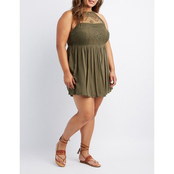 Charlotte Russe Crochet Bust Skater Dress ($18) ❤ liked on Polyvore featuring plus size women's fashion, plus size clothing, plus size dresses, olive night, plus size skater dress, plus size bohemian dresses, olive green dress and bohemian style dresses