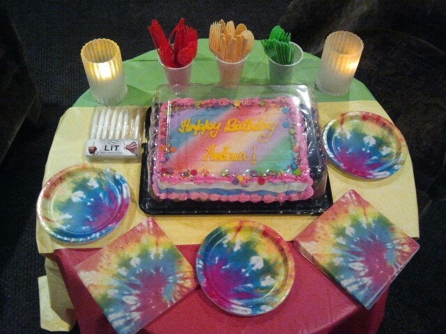 """Bob Marley-Hippie Birthday Party table. All decor 99¢ at Wal*Mart. """"Doobie"""" candles on Ebay."""