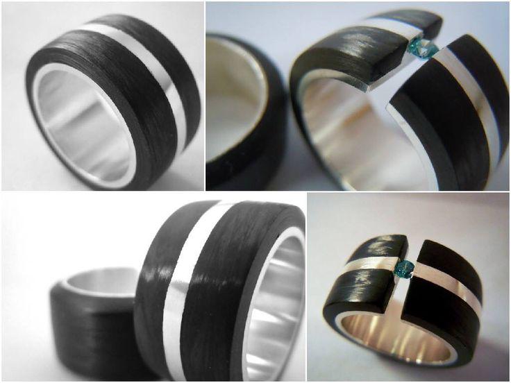 Anillo fibra de carbono & plata 950 & Swarovski  By Yessica Bordón