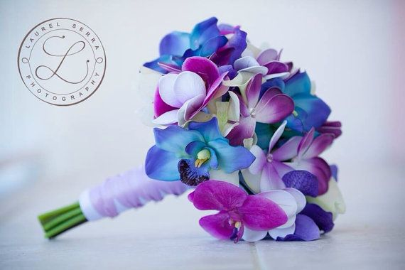 Blue Galaxy Orchid, Plumeria and Calla Lily Real Touch Bouquet in Blues, Purples and Violet- Design #105
