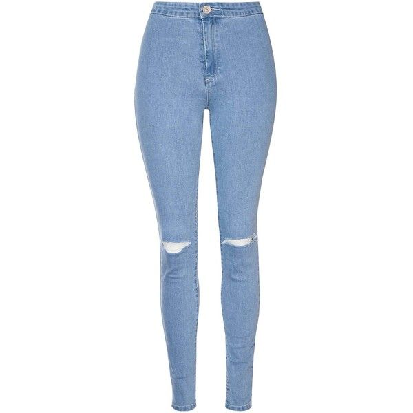 Light Wash Ripped Knee Skinny Jeans ($42) ❤ liked on Polyvore featuring jeans, pants, shorts/pants, blue, blue skinny jeans, high-waisted jeans, distressed skinny jeans, super skinny jeans and high waisted jeans