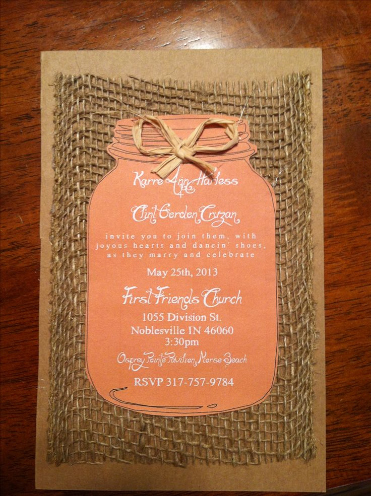 DYI burlap wedding invites. I printed them free off a website, bought some burlap and card paper. BAM! EXTREMELY inexpensive wedding invites and personally I love these so much more than your typical invites. Very easy too :-)