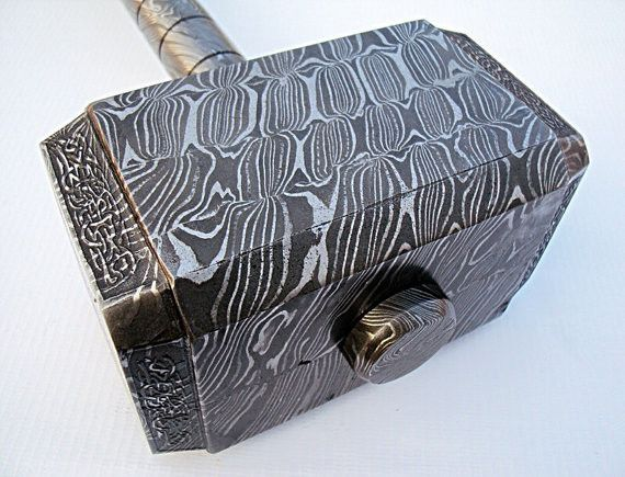 BADASS Handmade Full Damascus Steel Hammer -  Availbale on MenForge.com