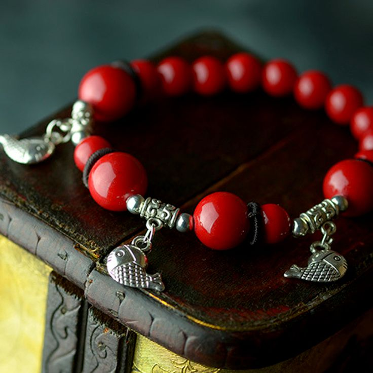 Original design ethnic strand bracelets red natural stone beaded chain silver plated fish drop Handmade vintage jewelry