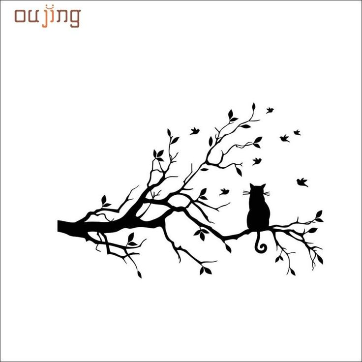 Home Decor Vinyl Stickers – Cat On a Tree Branch Decal – catscoolstuff