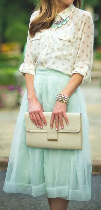 The whole outfit is lovely, but the blouse rocks! Love the neutral on neutral polka dots.