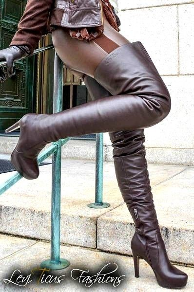 Brown leather leggings with thigh boots #hothighheelssexyoutfits