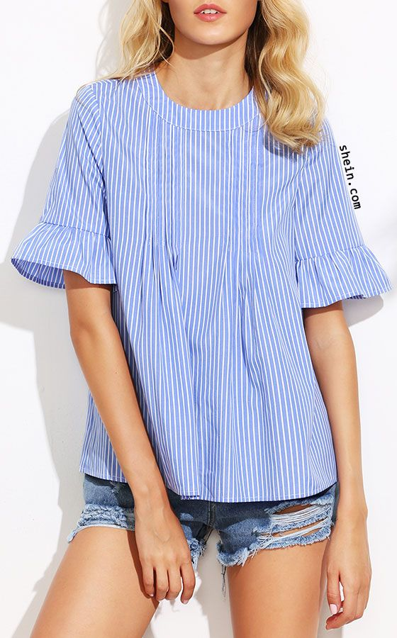 Blue Vertical Striped Ruffle Sleeve Button Back Blouse