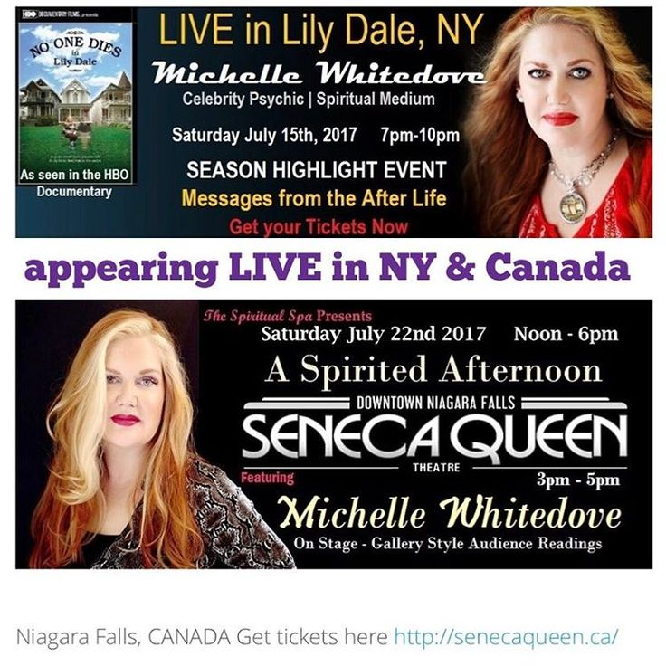 Need a message? I hope to see you while I'm touring this summer:  Sat. July 15th Lily Dale, NY Sat July 22, Niagara Falls CA LIVE on Stage, #celebrity #psychic #medium #author #michellewhitedove coming to a city near you. Link In Bio... get your tickets now!!! #jetsetpsychic #niagarafalls #canada #ny #lilydale http://tipsrazzi.com/ipost/1506038362744609350/?code=BTmheldgNpG