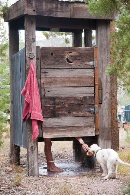 Outdoor shower made from old pallets
