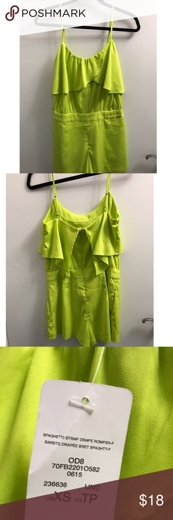 Lime Green Bebe Romper Spaghetti strap lime green short romper bebe Other