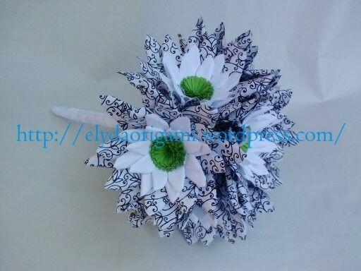 buchet alb-verde