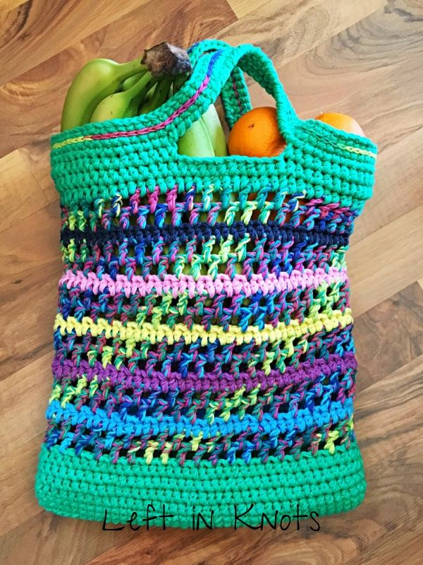 Open-Air Market Bag — love this colorful crocheted reusable shopping bag… It …