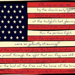 An American flag with the first verse of The Star Spangled Banner printed on it. Great for July 4th Decor!