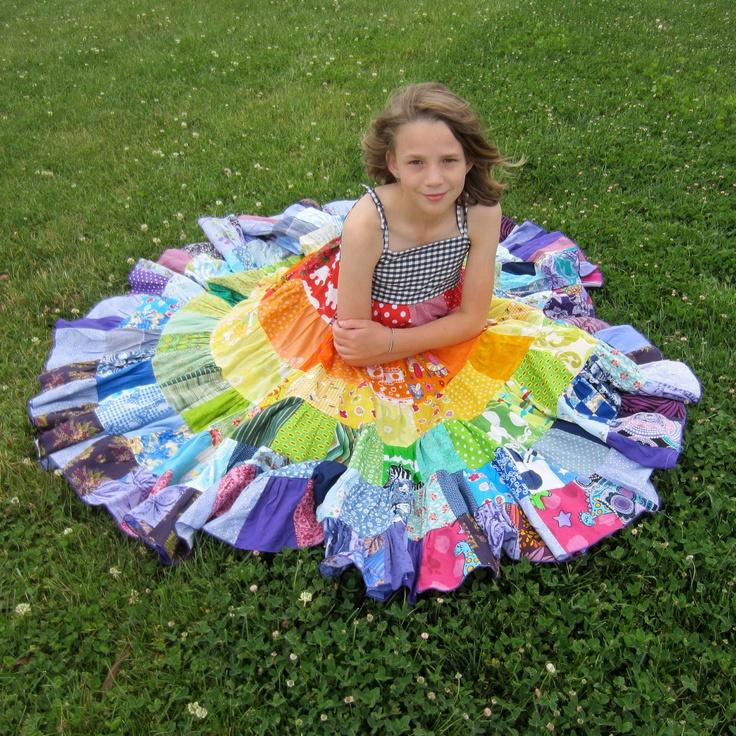 Rainbow dress patchwork twirly twirler bright eco children sundress custom upcycled size 4 - 10 made to measure CUSTOM ORDER. $85.00, via Etsy.