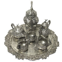 [Victorian 19th Century  A Most Amazing, Highly Repousse Tea & Coffee Service In The Teniers Style.]    I would definately own this if I could.