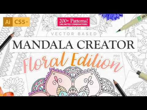 New Version! Works great with Illustrator CS5, CS6 and all version of Creative Cloud... Guaranteed! This version has a unique set of patterns that no other version of Mandala Creator shares