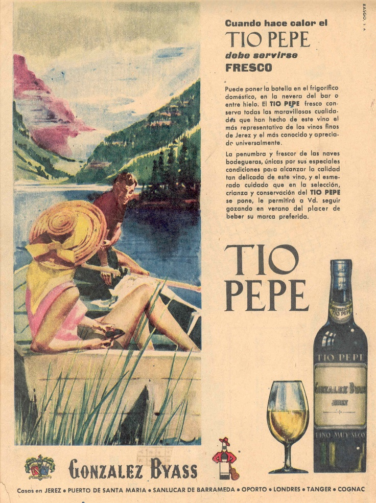 """1962: """"Cuando hace calor el Tio Pepe debe servirse fresco"""". González Byass. Dibujo de lago. / 1962: """"When it is hot,  Tio Pepe should be served cool.""""  González Byass. Drawing of a lake."""