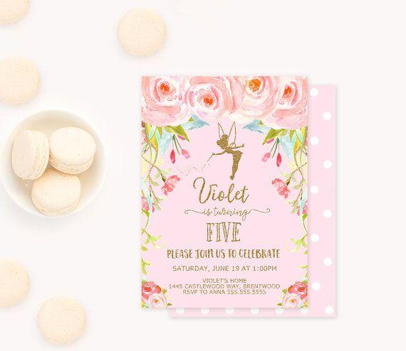 Fairy Birthday Invitation Garden Party by BlushPartyBoutique