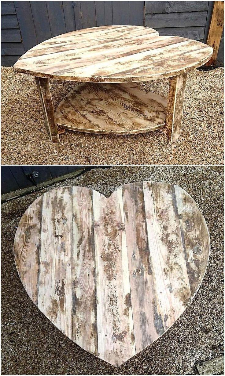 pallets made heart shape table idea