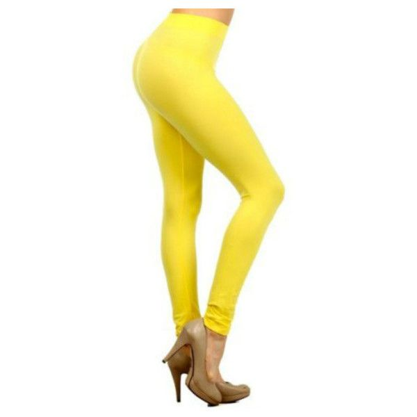 Women's Basic Ultra Stretchy Full Length Casual Leggings ($7.49) ❤ liked on Polyvore featuring pants, leggings, yellow, legging pants, stretchy leggings, stretch pants, yellow pants and stretch trousers
