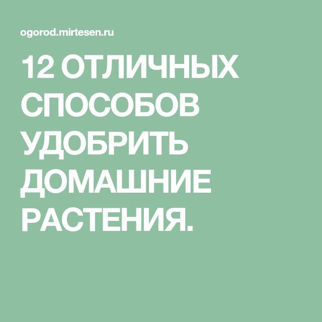 12 ОТЛИЧНЫХ СПОСОБОВ УДОБРИТЬ ДОМАШНИЕ РАСТЕНИЯ.