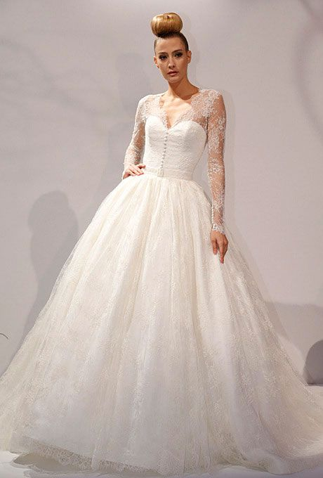 Brides.com: Wedding Dresses with Long Sleeves from Fall 2013. Wedding Dress with Long Sleeves: Dennis Basso. Long-sleeved, lace ballgown by Dennis Basso  See more Dennis Basso wedding dresses in our gallery.