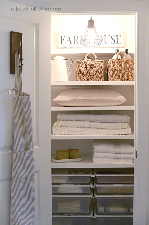 Farmhouse (Bauernhaus) Linen closet via A Bowl Full of Lemons. Want this for closet off kitchen