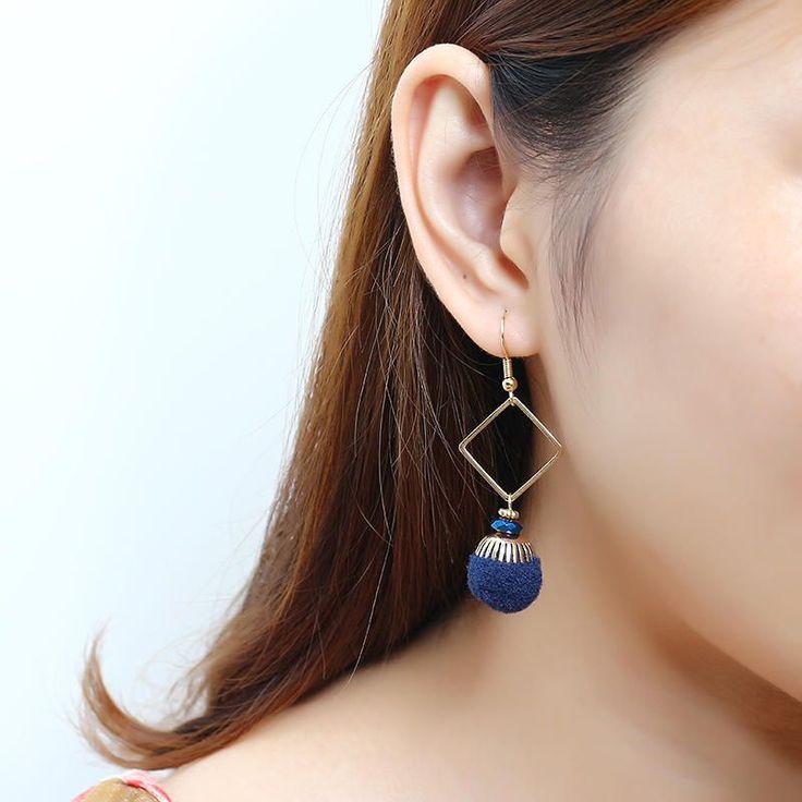 Bohemian Earrings Gold Plated Simple Rhombus Yarn Ball Pendant Ear Drop Boho Jewelry for Women at Banggood