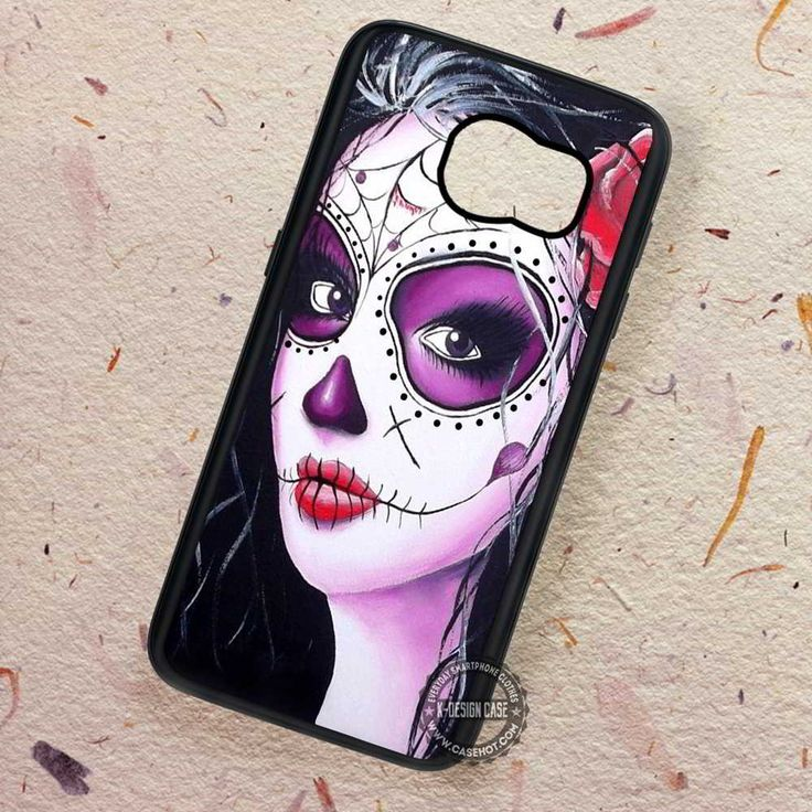 Candy Skull Black Hair Sugar - Samsung Galaxy S7 S6 S5 Note 7 Cases & Covers