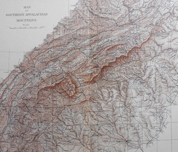 1902 Southern Appalachians Mountains Antique Map Eastern Seaboard Topographic Original Usgs Topo Map Over 100 Years Old